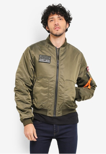 MANGO Man green Patches Nylon Bomber Jacket MA449AA0T1F4MY_1