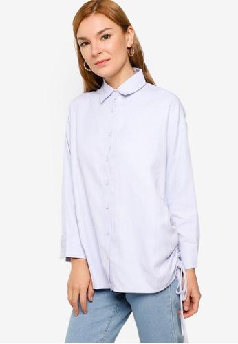 ZALIA BASICS 藍色 Printed Side Drawstring Oversize Shirt 1E05BAA24E7A8BGS_1