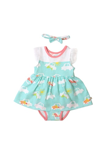 OETEO white and green and multi Road Trip Easyeo Flutter Sleeve Easyeo Romper Dress (Green) 6D56DKAEC125D3GS_1