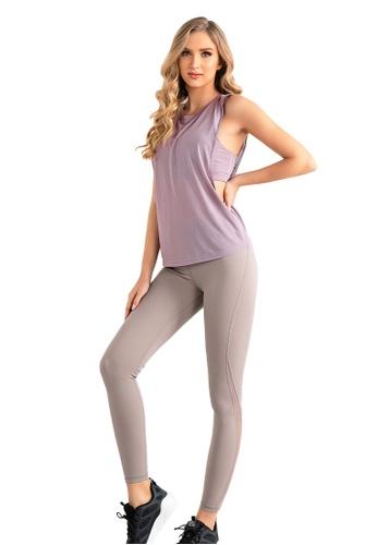 B-Code purple ZUU3044-Lady Quick Drying Running Fitness Yoga Sports Bra, Top and Leggings Three Pieces Set -Purple 3E422AA64E2DC3GS_1