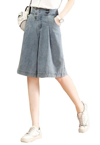 A-IN GIRLS blue Fashion Wide-Leg Cropped Jeans AE8F4AA872E3B1GS_1