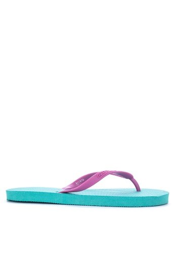 Penshoppe green Color Blocked Rubber Flip Flops 67433SH439D536GS_1