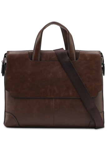 ZALORA brown Structured Briefcase With Flap Front 58ED7ZZ8A8C8BCGS_1