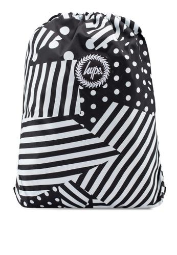 Just Hype black and white Ship Stripe Drawstring Bag 243A6ACF304CD5GS_1