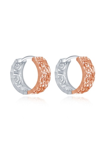 MaBelle red and silver 14K 585 Rose and White Gold Swirl Pattern Diamond Cut Hoop Earrings 446D5AC14F96FCGS_1