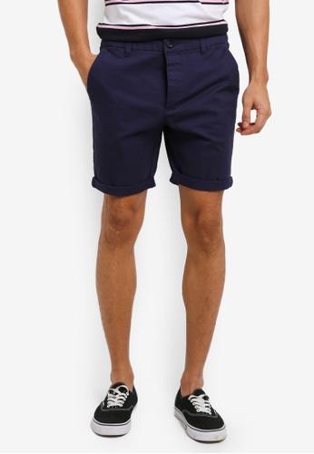 Topman 藍色 Stretch Skinny Chino Shorts BA7F6AA132F7AEGS_1