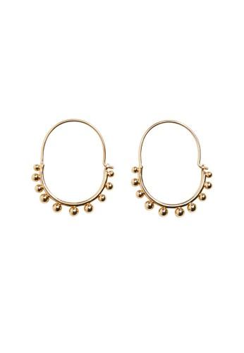 Mango gold Embossed Hoop Earrings 55753AC61A393EGS_1