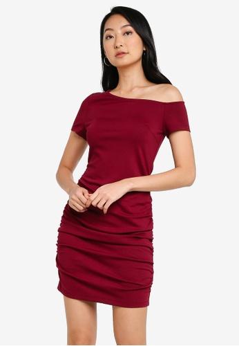 ZALORA BASICS purple Drop Shoulder Bodycon Dress CB558AA140EBA8GS_1
