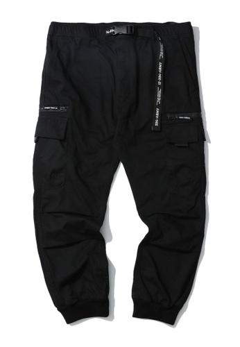 izzue black Belt cargo pants 89920AA31275CDGS_1