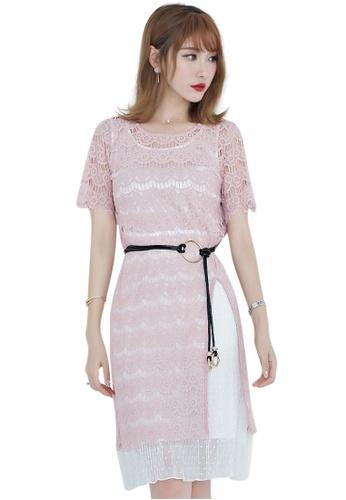 Sunnydaysweety pink Lace Short Sleeves One Piece Mini Dress UA060605PI SU219AA0GR29SG_1