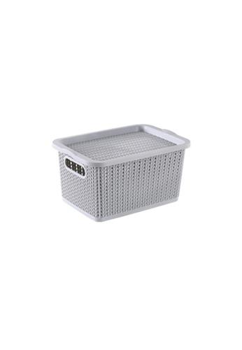 HOUZE grey HOUZE - Braided Storage Basket with Lid (Small) - Grey E8BE0HL24090FFGS_1