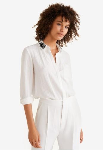 Mango white Crystal Detail Shirt 88BE4AAAE95BB6GS_1