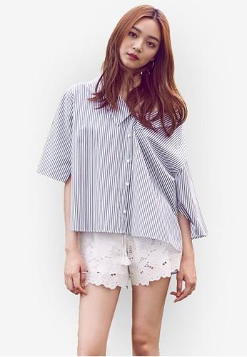寬擺細條紋露肩T-shirt、 服飾、 上衣NAIN寬擺細條紋露肩上衣最新折價