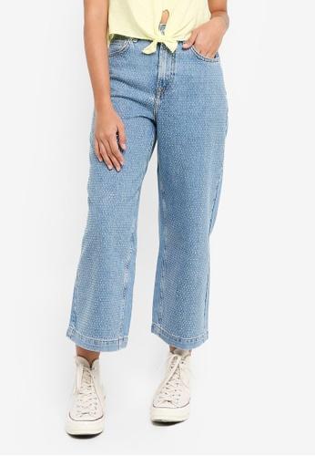 TOPSHOP 藍色 Moto Bleach Diamante Cropped Jeans 13682AAA104057GS_1
