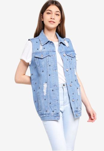 Something Borrowed blue Studded Long Denim Vest D3D8CAAE8770D8GS_1