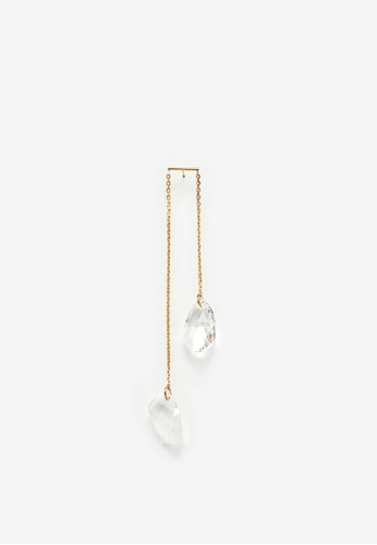MONDAY EDITION white and gold Two Crystals Single Earring A2781AC901E3BFGS_1