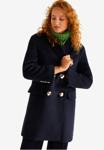 Mango blue and navy Buttoned Wool Coat C0808AA001879DGS_1