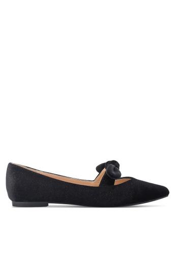 ZALORA 黑色 緞帶尖頭平底鞋 184EASHA3099E8GS_1