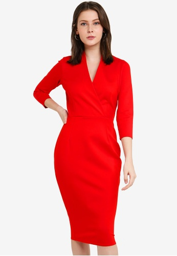 CLOSET red Wrap Pencil Dress 0A349AA0C0B5CAGS_1