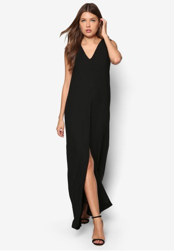 前開衩無袖連身長裙, 服飾, 派zalora 鞋評價對洋裝