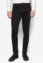 Topman black Washed Black Tapered Stretch Skinny Jeans TO413AA76UEHMY_1