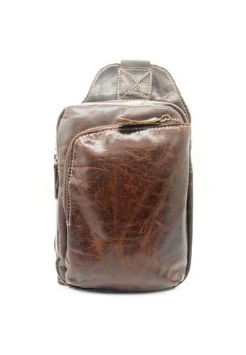 LUXORA brown Top Grain Leather Sling Shoulder Crossbody Bag LU926AC0FG30SG_1