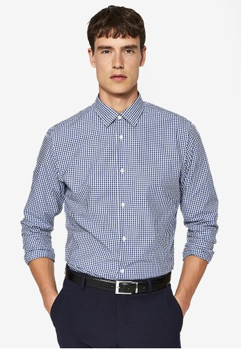 Selected Homme blue Long Sleeve Checkered Shirt DCAD8AA6F4B74EGS_1
