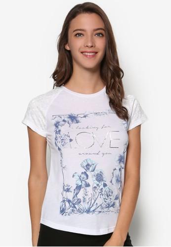 文字印花T 恤,esprit官網 服飾, 上衣