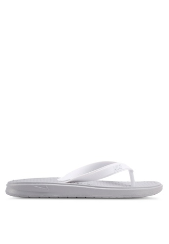 Nike grey and white Women's Nike Solay Thong Sandals NI126SH0STR4MY_1