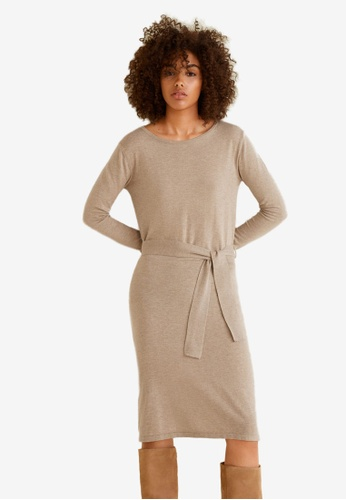Mango brown Bow Knitted Dress 84624AA144C092GS_1
