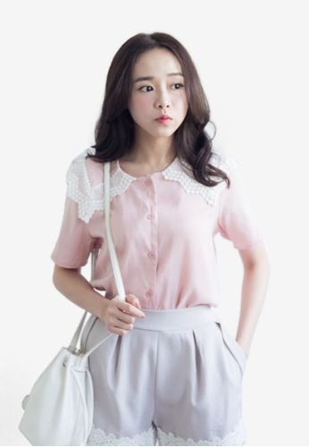 Tokichoi pink Crochet Padded Shoulder Blouse TO550AA0S1HHMY_1