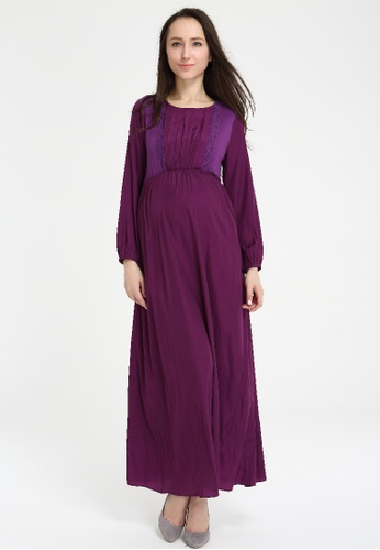 Bove by Spring Maternity purple Long Sleeved Peggy Pleated Maxi Dress Purple 92E59AAA95BBB4GS_1