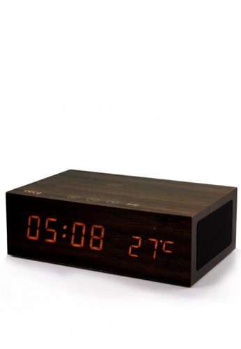 Latest Gadget brown Wood Finish Alarm Clock With NFC Bluetooth Speaker And FM Radio 94E41AC9F71C90GS_1