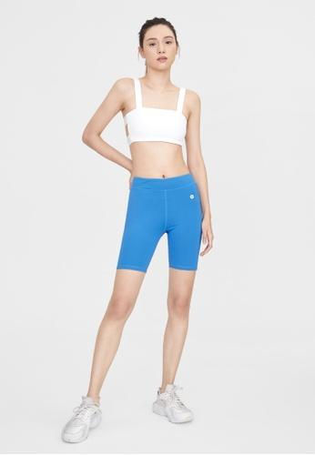Pomelo blue Intensity Mesh Hem Biker Shorts - Blue 5D380AAA270380GS_1