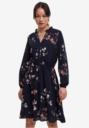 Vero Moda navy Aya Printed Mini Dress 47A34AA3E92649GS_1