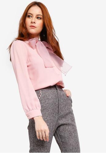 Zalia pink Pussy Bow Blouse 3DBC4AA61AD2F0GS_1