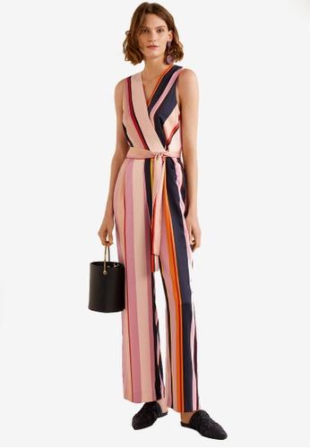 Mango pink Striped Long Jumpsuit 98E79AA2E5C3B3GS_1