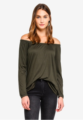 Brave Soul green Long Sleeve Off The Shoulder Top 45BE1AA3B5249AGS_1