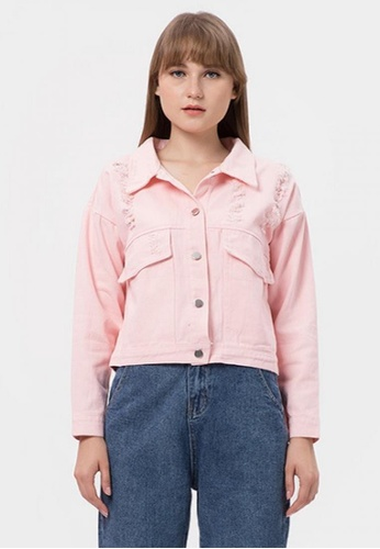 3b82a7122a30 MKY Clothing pink Destroyed Colour Denim Jacket in Pink 530DEAA4831ADFGS_1