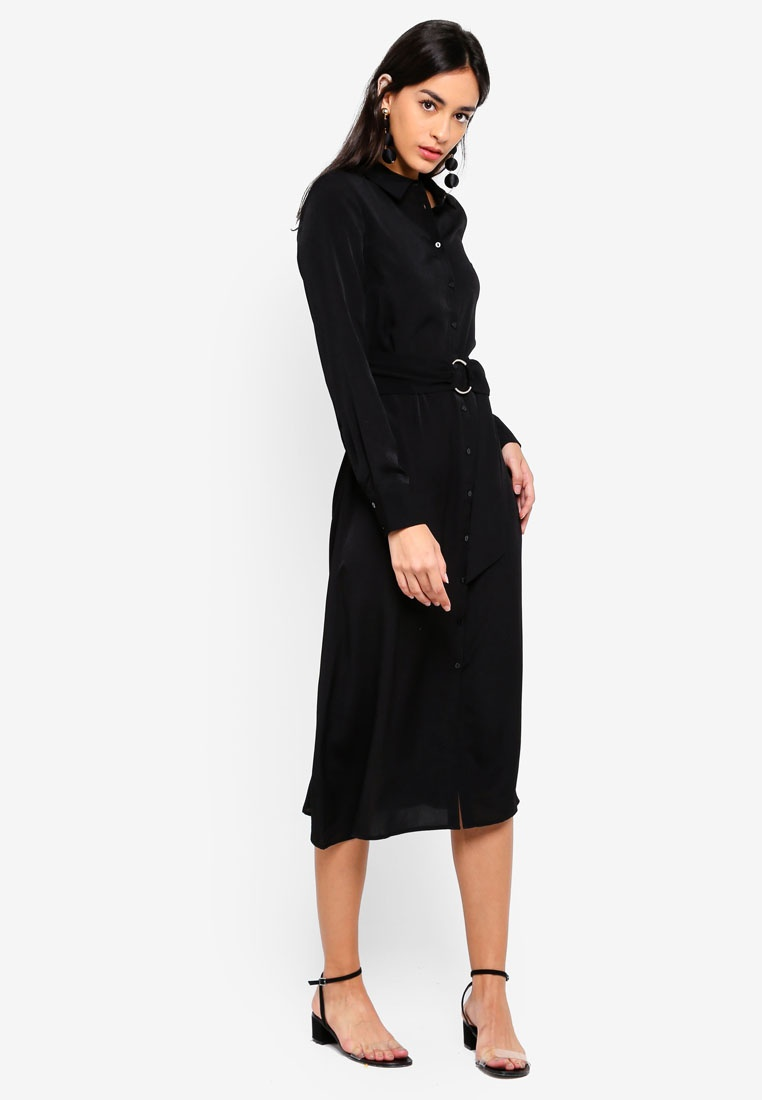 WAREHOUSE Midi O Black Ring Shirt Dress wqHxUI8H5