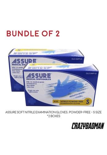 ASSURE [Bundle of 2] ASSURE Soft Nitrile Examination Gloves, Powder-Free (100pcs/box) C8253ES8B71DF9GS_1