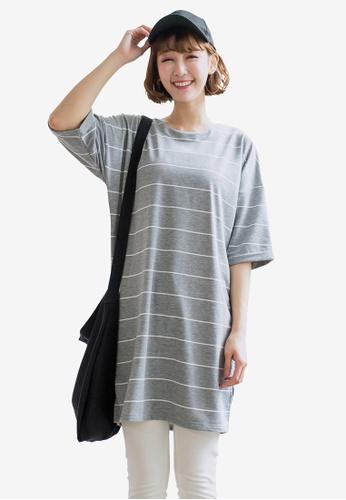 Tokichoi grey Striped Oversized Tee FB32AAAB0604DDGS_1