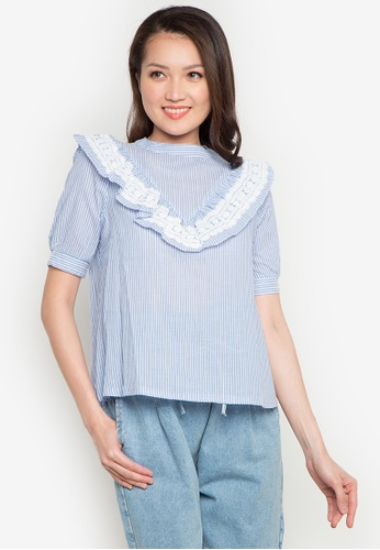 Spring Fling blue Striped Ruffled Top SP673AA0JT3OPH_1