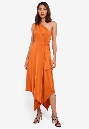 WAREHOUSE brown One Shoulder Asymmetric Dress 9F19DAA0FBAD6BGS_1