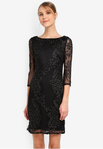Wallis black Black Embroidered Mesh Shift Dress WA800AA0SP8TMY_1