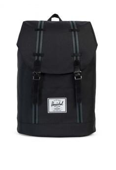 1044458e34 Herschel black Retreat Offset Backpack HE958AC0KA1RPH 1