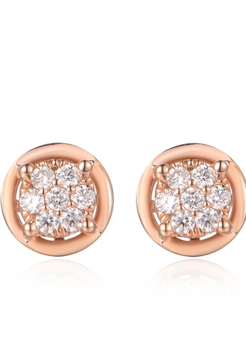 Prince Jewellery And Watch red and gold 18K Rose Gold Diamond Round Earrings 4E0F0AC23BCBC7GS_1
