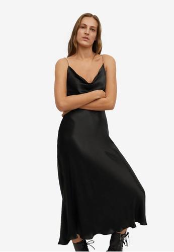 Mango black Chain Satin Dress BB73AAA2ACD88DGS_1
