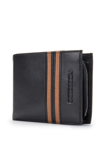 ENZODESIGN black and brown Top Grain Leather Wallet with Zip Coin Compartment EN115AC08ZVZPH_1