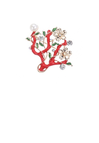 Glamorousky white Fashion and Elegant Plated Gold Plum Blossom Imitation Pearl Brooch with Cubic Zirconia 5BCDDAC504B57CGS_1